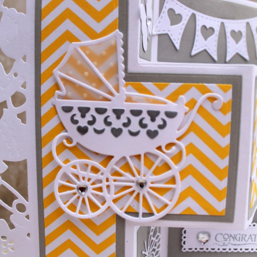 Yellow Gray Baby Shower Carriage