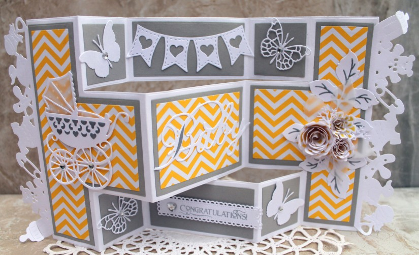 Yellow Gray Baby Shower Front