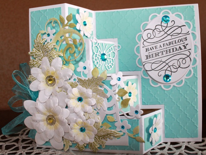 step card turquoise yellow daisies