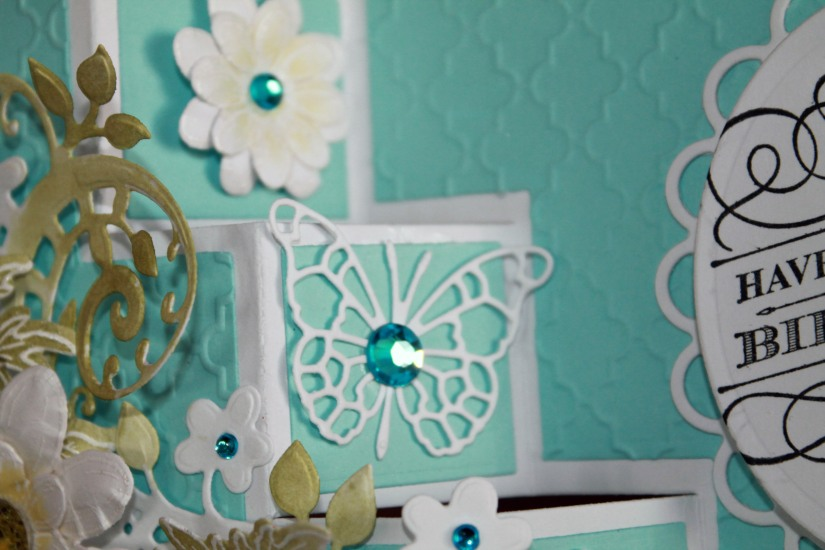 turquoise yellow fabulous birthday close up step card
