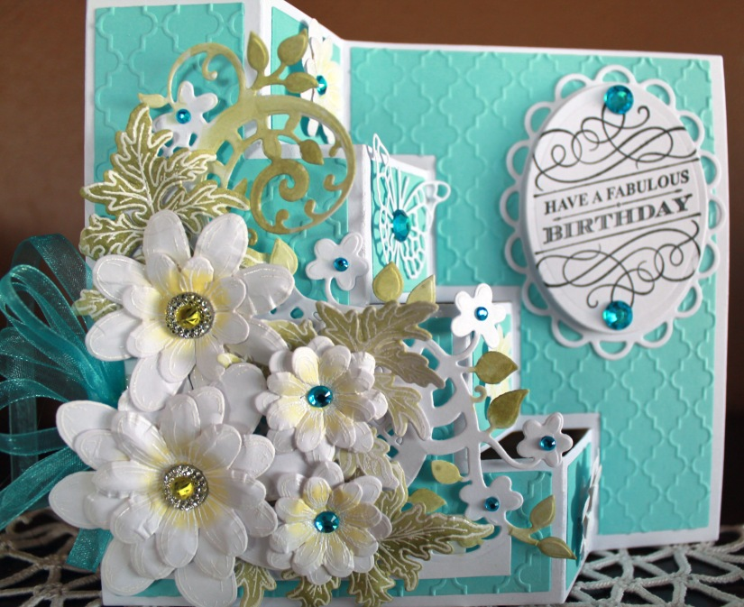 turquoise yellow fabulous birthday front close up step card