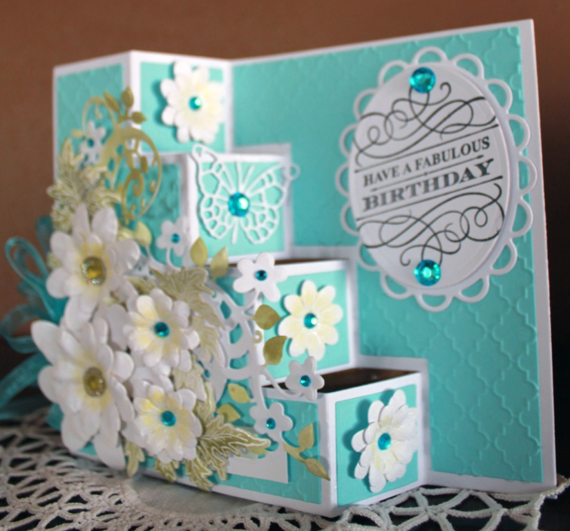 turquoise yellow fabulous birthday side view step card