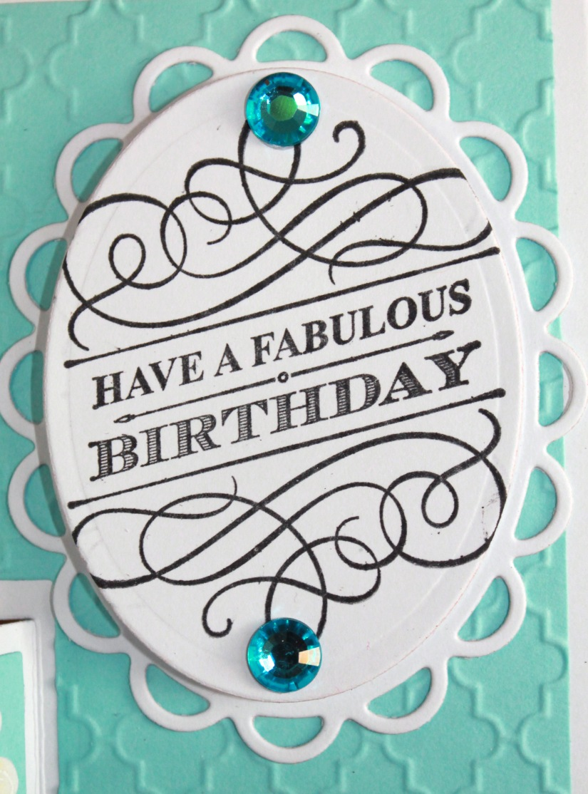 turquoise yellow fabulous birthday stamp close up step card - Copy