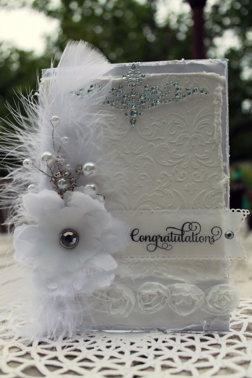 wedding satin flower card full front