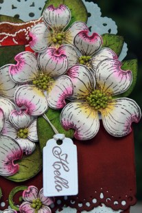 dogwood flower pot card close up view