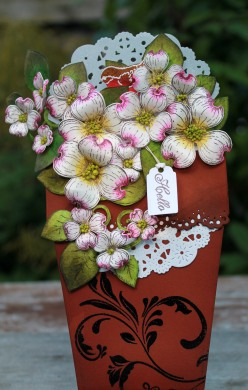 dogwood flower pot card front view