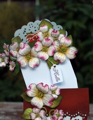 dogwood flower pot card open view