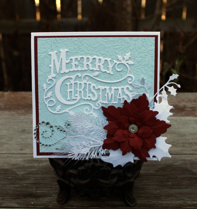 cranberry poinsetta christmas card front