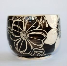 doodle flower vase clear inside sideview
