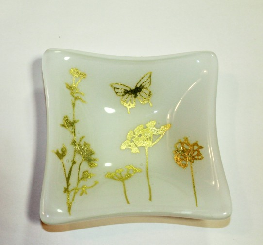 wildflower trinket dish silver foil flowers and butterfly